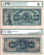 Very Rare 1917 $10 Home Bank of Canada PMG VG8. 1 of 5 known in private coll