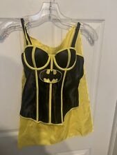 DC Comics Batman Corset Bustier With Cape Adult Size Small Boned Black & Yellow