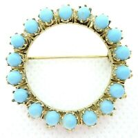 VINTAGE 1970s BROOCH PIN PETITE CIRCLE WREATH PRONG SET BLUE BEADS GOLD TONE