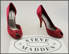 STEVE MADDEN WOMEN'S RED SATIN DRESS HIGH HEEL JEWEL TRIM SHOES SIZE 6 M NEW