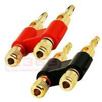 Red & Black Gold Plated Heavy Duty Pro Dual Banana Plug Connectors - 2 Pcs