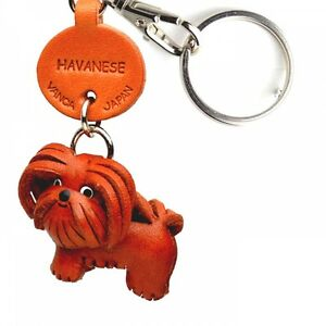 Havanese Handmade 3D Leather Dog Keychain *VANCA* Keyring Made in Japan #56782