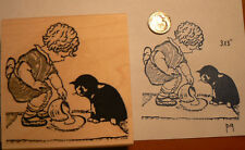 P9 Girl and kitten with milk rubber stamp Wm