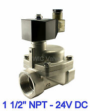 "1-1/2"" Inch High Pressure Stainless Hot Water Steam Solenoid Valve NC 24V DC"