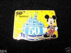 Mickey Mouse Disneyland 50th Cinderella Castle AAA Pin