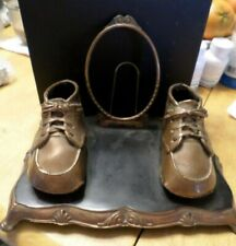Vintage Bronze Baby Shoes with Oval Frame - Senti-Metal Co Columbus Ohio