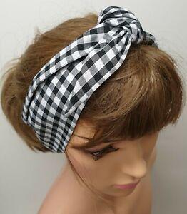 Black gingham self tie headband rockabilly headwear tie up bandana 50s headscarf