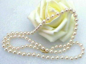 Charming AAA 4-5mm real natura Akoya white round pearl necklace 17inch 14k GP