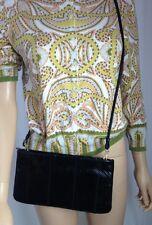 Vintage 1980s Black Genuine Snake Skin Clutch Cross Body Handbag