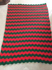 """Saydee's Handmade Creations"" Red & Green-Chevron Pattern-Afghan-Crochet-NEW"
