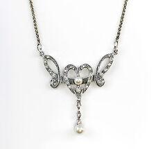 9901124 925er Silber Collier mit Perlen u. Swarovski-Steine L42cm