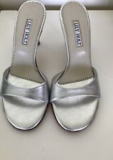 Lily Holt Silver High Heels/ Mules / Sandals.Leather Size 7. EUC