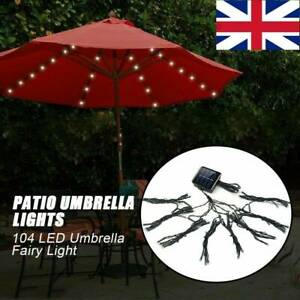 104LED Garden Solar Umbrella Fairy Light Patio Table Parasol Outdoor Light Hot