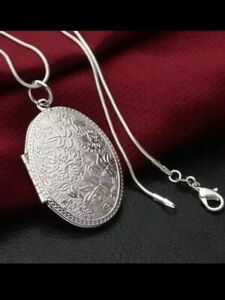 New 925 Sterling silver Large Oval Carved Open Locket+Chain set Hallmarked 11g