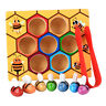 Multicolored Wooden Montessori Bee Box Set Clip Bee Out Kids Educational Toy