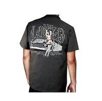 Lucky 13 Sofia Hot Rod Car Pinup Girl Vintage Mechanic Biker Punk Work Shirt M