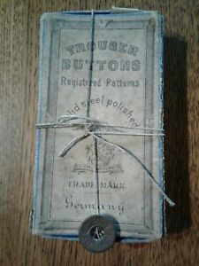 Lot of 145 Small Antique Trouser buttons in ORIGINAL BOX