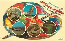 1950s Paint Pallette Chicago Illinois International Airport Cameo postcard 1981