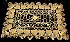 HEART Pattern ECRU CLUNY LACE Style RECTANGLE Doily Runner 14 x 20 in (Lt Beige)
