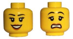 Lego minifigure head - Duel sided - happy/scared female