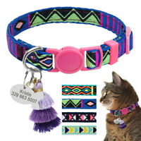 Embroideried Cat Breakaway Collar Quick Release & Personalised ID Tags Anti Lost