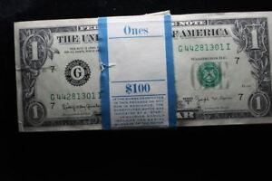 1963-B $1  FEDERAL RESERVE BEP BUNDLE