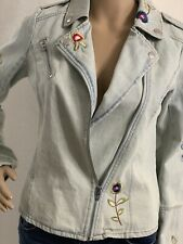 candies Jeans Jacket Ripped Collar&embellished With Embroidery SizeM Color Lblue