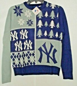 MLB New York Yankees Busy Block Ugly Sweater Youth Size Youth Large by FOCO