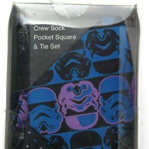 Star Wars Tie, Socks, Pocket Square Set Men's Necktie Blue Stormtrooper NEW 667