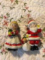 "Homco Christmas Figures Santa Boy Mrs Claus Girl #5401 Ceramic 5.5"" Lot Set"