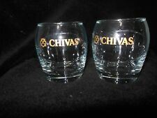 Chivas Regal Scotch Whisky Contoured Glasses Gold Lettering set 2