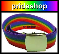 Rainbow Vintage Style Strong Nylon Belt Brass Buckle Lesbian Gay Pride #877