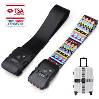 TSA Travel Luggage Strap with 3 Dial Approved Lock Adjustable Long Belt, 2Colors