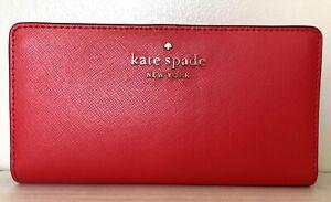 New Kate Spade Staci Large Slim Bifold wallet Digital Red