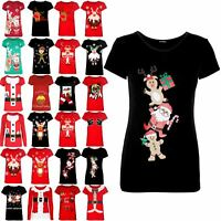Womens Ladies Cap Sleeve Climbing Gingerbread Xmas Christmas Stretch New T Shirt