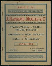 Catalogue HAMMOND MOUTER Cie 1922 Accessoires Cycles Bicyclette AMEN Pièces Auto