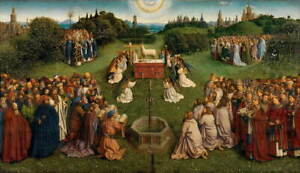 Jan van Eyck The Ghent Altarpiece Adoration of the Mystic Giclee Canvas Print