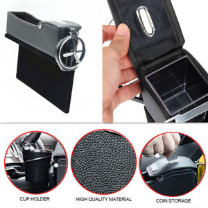 Car Side Seat Gap Slit Pocket Storage Right PU Leather Coin Box Cup Holder 1Pcs