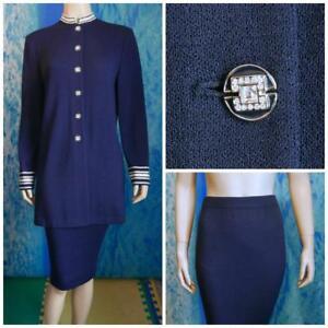 ST. JOHN Evening KNITS Navy Blue Jacket Skirt L 10 12 2pc Suit Cream Shimmer