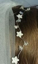 Handmade Bridal Silver  with ivory flower Hair Vine with swarovski crystal