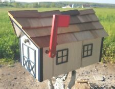 Amish Crafted White/ Black Trim Barn Style Mailbox - Lancaster County PA
