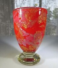 Gozo Malta heavy Pop Art Glass Red Coral cup in manner of Jean Claude Novaro