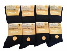 6 PAIRS NON ELASTIC DIABETIC MEN'S GENTLE GRIP 100% PURE COTTON COMFORT SOCKS