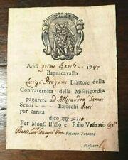 8456-ST. PONTIFICIO, BAGNACAVALLO,ESATTORE CONFRATERNITA DELLA MISERICORDIA,1787