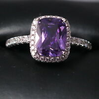 Sparkling Princess Purple Amethyst Ring Women Engagement Jewelry 14K White Gold