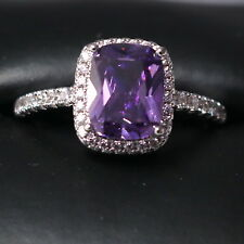 Sparkling Princess Purple Amethyst Ring Women Engagement Jewelry 14K White Gold