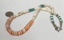 """18""""spiny oyster shell/Turquoise/white Howlite stone Heishi necklace/(w305j-w1)"""
