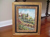 Oil Painting Provence Italian Hilltop Village Scene Gilt wood Frame Art Decor