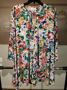 UMGEE  USA Women Sz L Large Floral Oversized Tunic Blouse Top NWT