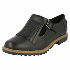 Ladies Clarks Buckle Fastened Fringe Flats Griffin Mia Black Leather 5 UK D